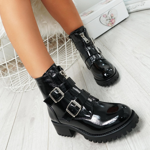 Neva Black Buckle Ankle Boots
