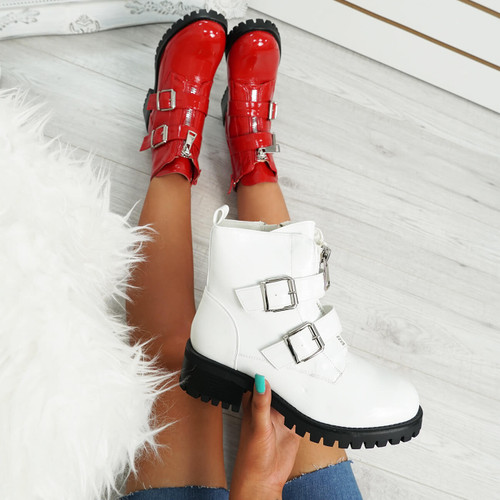 Neva White Buckle Ankle Boots