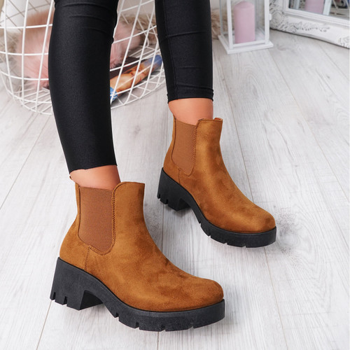 Forya Camel Chelsea Ankle Boots