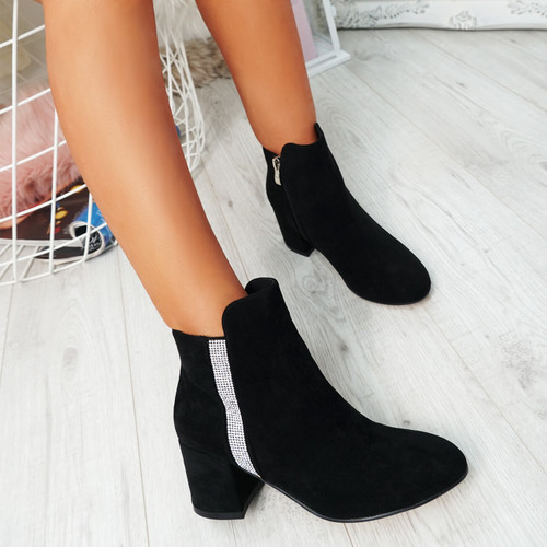 Fedas Black Studded Ankle Boots