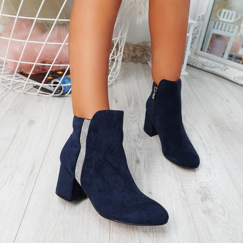 Fedas Blue Studded Ankle Boots