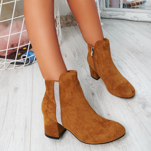 Fedas Camel Studded Ankle Boots