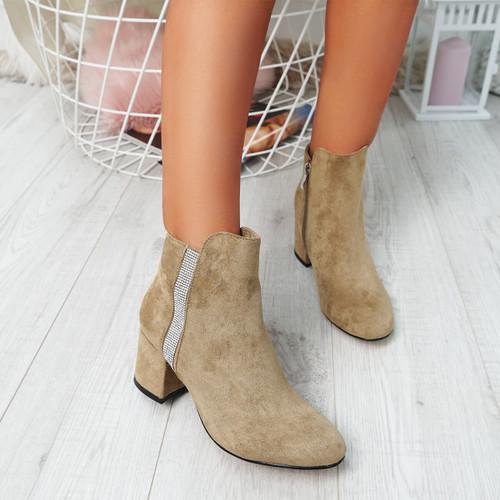 Fedas Khaki Studded Ankle Boots