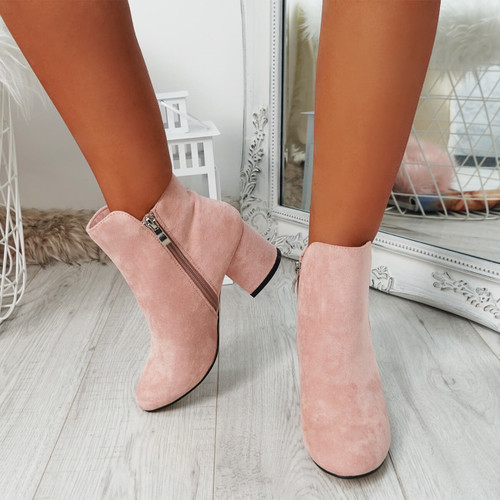 Fedas Pink Studded Ankle Boots