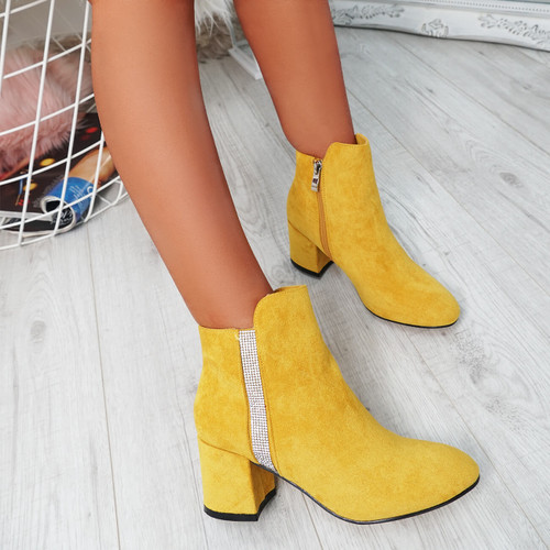 Fedas Yellow Studded Ankle Boots