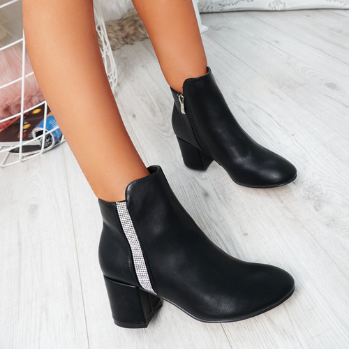 Fedas Black Pu Studded Ankle Boots