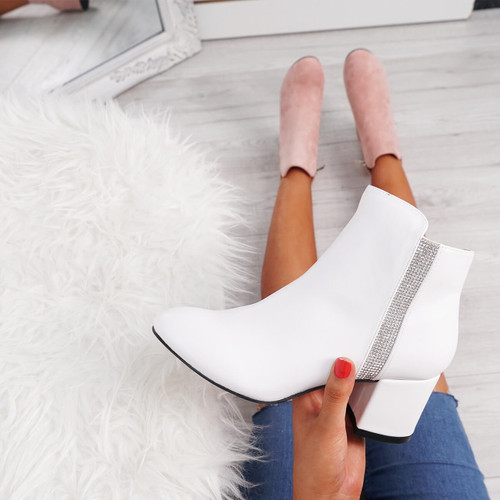 Fedas White Studded Ankle Boots