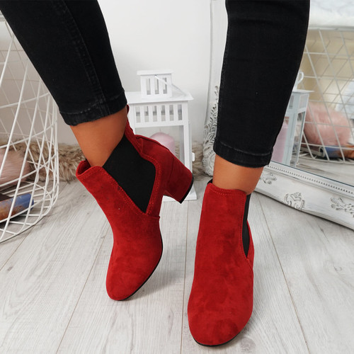 Zenta Red Chelsea Ankle Boots