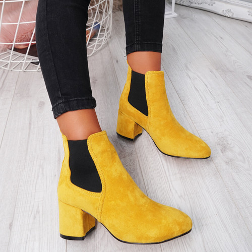 Zenta Yellow Chelsea Ankle Boots