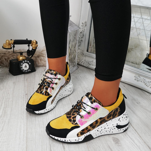 Arra Yellow Chunky Trainers