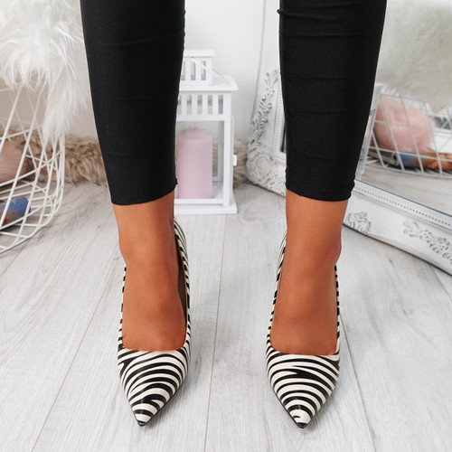 Tyka Beige Zebra Stiletto Pumps