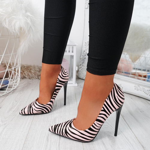 Tyka Pink Zebra Stiletto Pumps