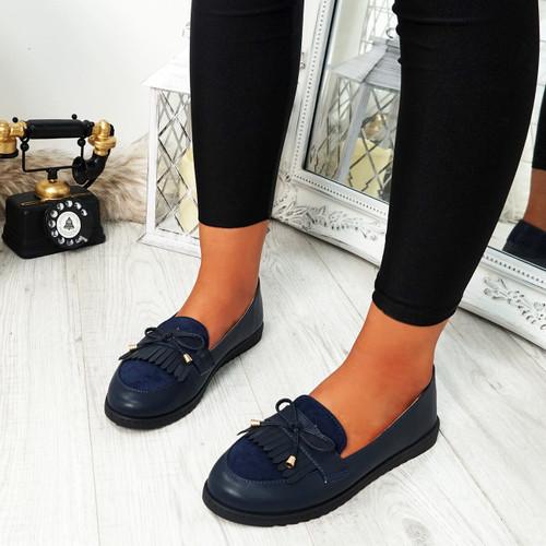 womens blue fringes ballerinas size uk 3 4 5 6 7 8