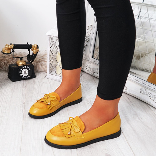 womens yellow fringes ballerinas size uk 3 4 5 6 7 8