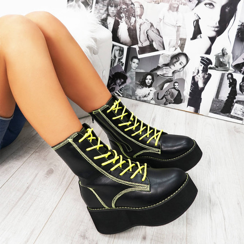 Desse Black Pu Chunky Boots