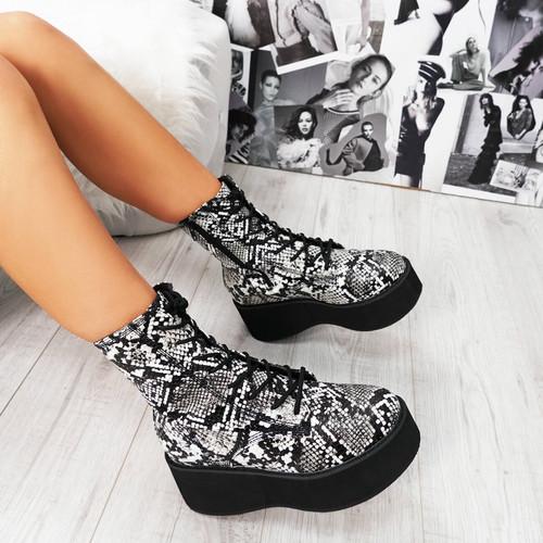Desse Black & White Snake Chunky Boots