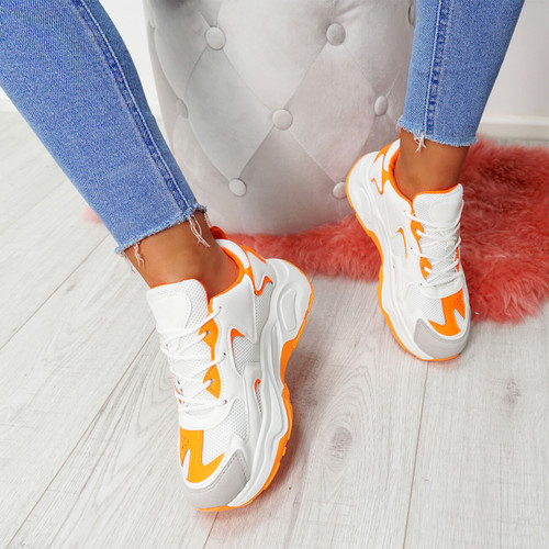 Walla Orange Chunky Trainers