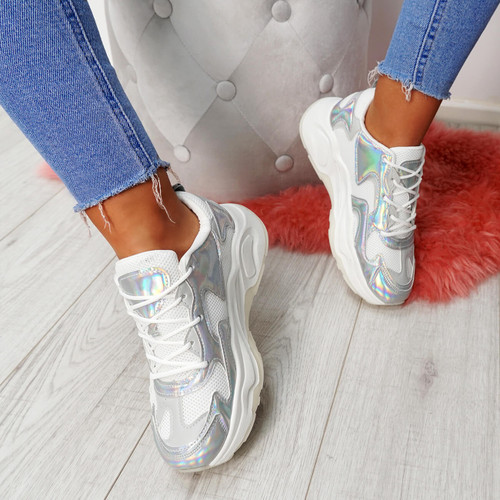 Walla Silver Chunky Trainers