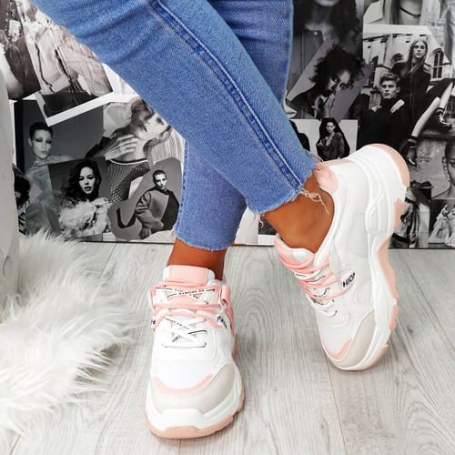 Farra Pink Chunky Trainers