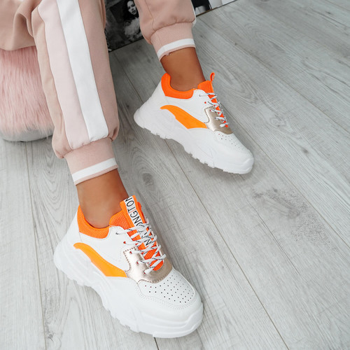 Ollex Orange Chunky Trainers