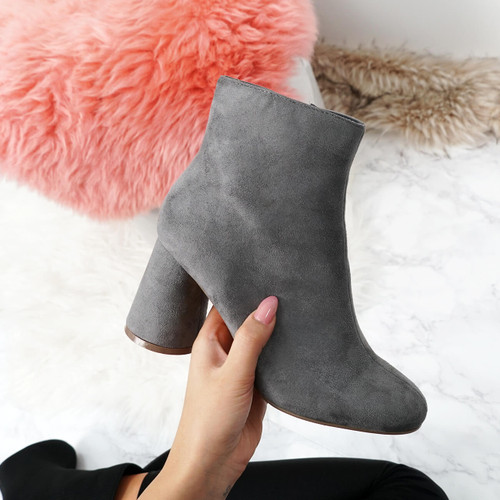 Nifa Grey Zip Ankle Boots