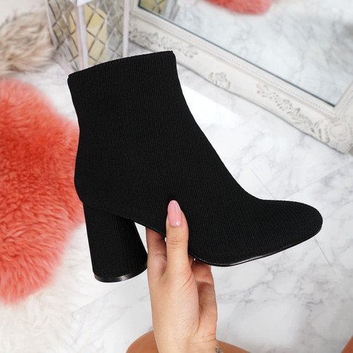 Nifa Black Zip Ankle Boots