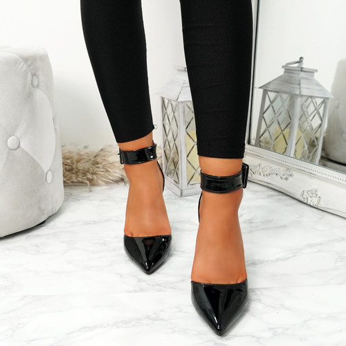 Enna Black Pu Block Heel Pumps