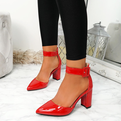 Enna Red Pu Block Heel Pumps