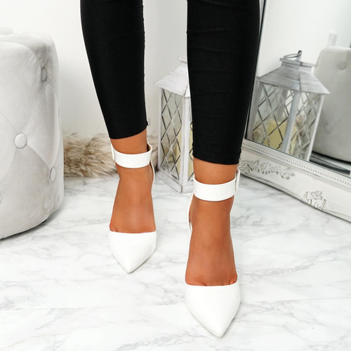 Enna White Pu Block Heel Pumps