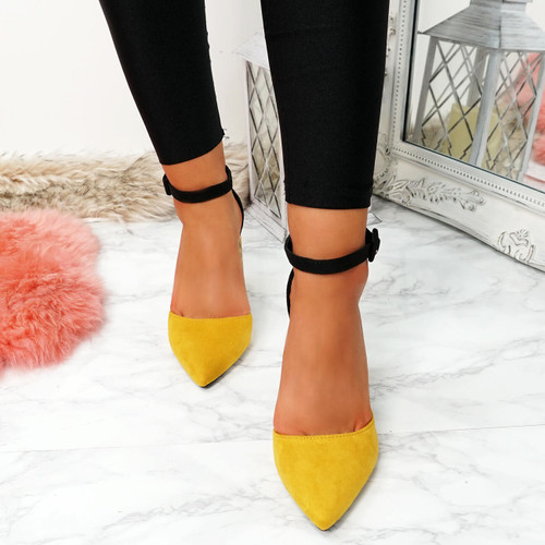 Decca Yellow Snake Skin Block Heel Pumps