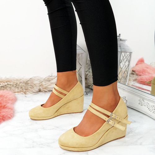Eliana Nude Suede Wedge Pumps