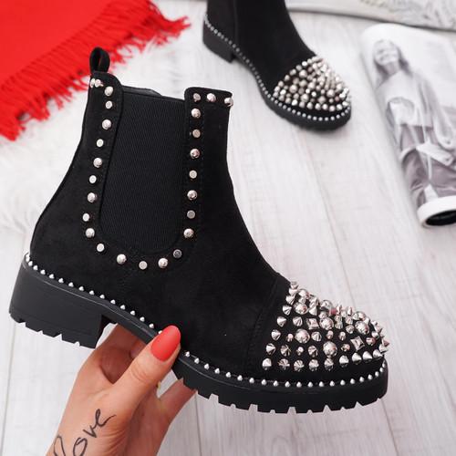 Blerra Black Suede Studded Ankle Boots