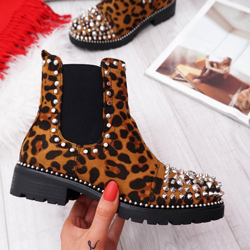 Blerra Leopard Studded Ankle Boots