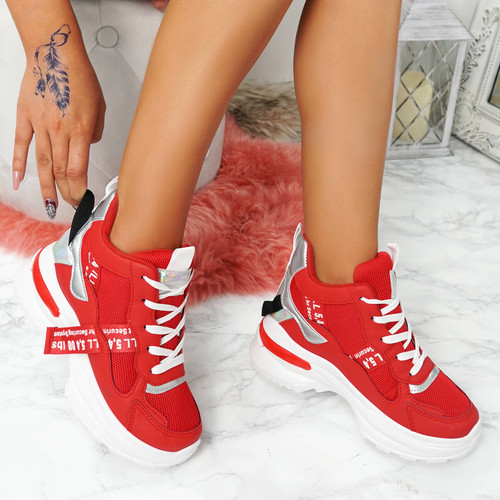 Megga Red High Top Chunky Trainers