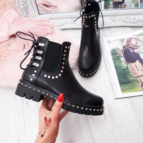Lerra Black Studded Ankle Boots