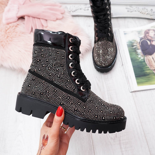 Ynna Black Studded Lace Up Ankle Boots