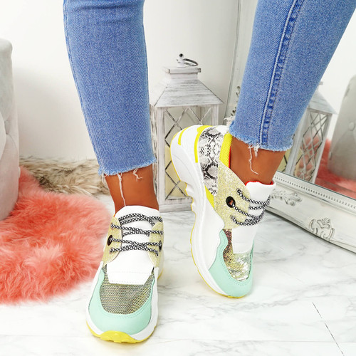 Nesso Yellow Glitter Chunky Trainers