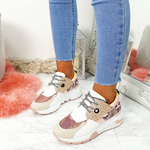 Nesso Pink Glitter Chunky Trainers