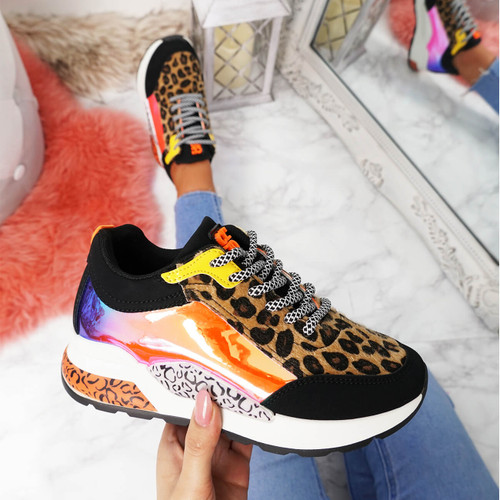 womens black leopard animal pattern chunky sneakers trainers size uk 3 4 5 6 7 8