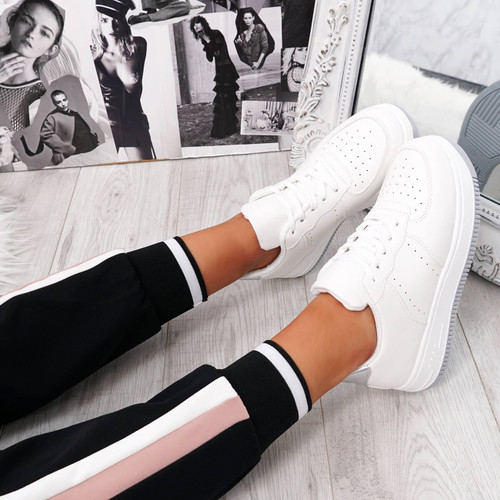 Simma Silver Lace Up Platform Trainers