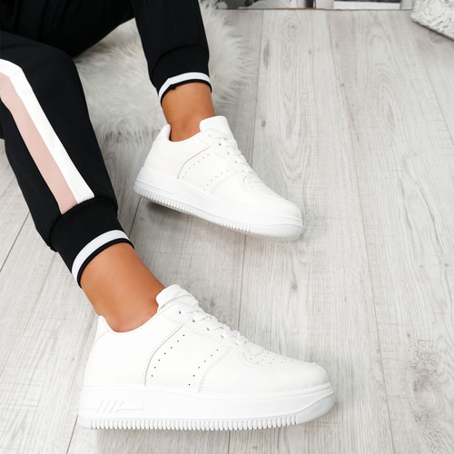 Simma White Lace Up Platform Trainers