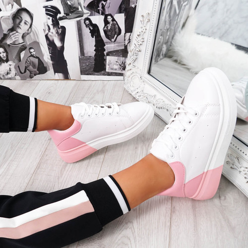womens white pink lace-up platform trainers sneakers size uk 3 4 5 6 7 8