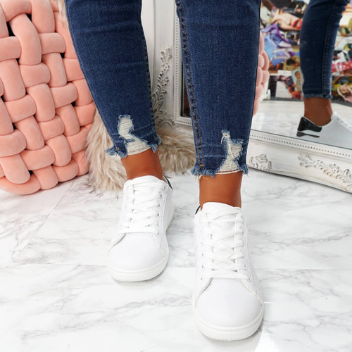 womens white black lace-up platform trainers sneakers size uk 3 4 5 6 7 8