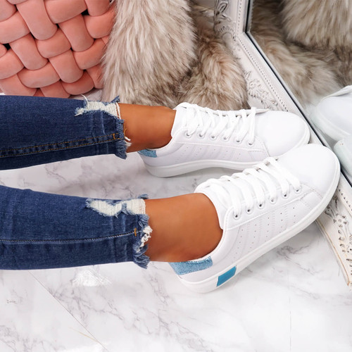 womens white blue lace-up platform trainers sneakers size uk 3 4 5 6 7 8
