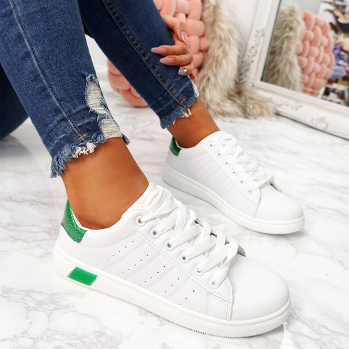 womens white green lace-up platform trainers sneakers size uk 3 4 5 6 7 8