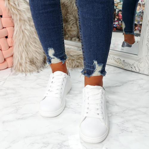 womens white grey lace-up platform trainers sneakers size uk 3 4 5 6 7 8