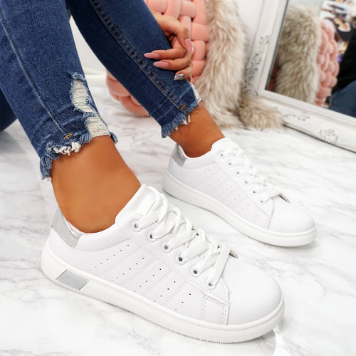 womens white silver lace-up platform trainers sneakers size uk 3 4 5 6 7 8