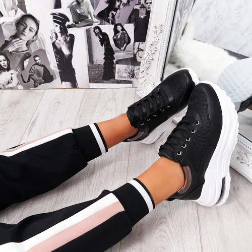 Jerra Black Chunky Trainers