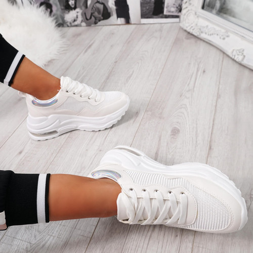 Jerra White Chunky Trainers - Tracked