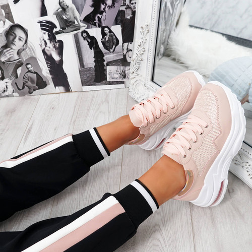 Jerra Pink Chunky Trainers